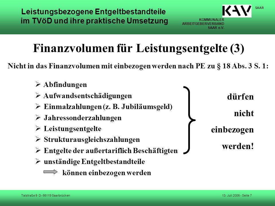 Finanzvolumen für Leistungsentgelte (3)