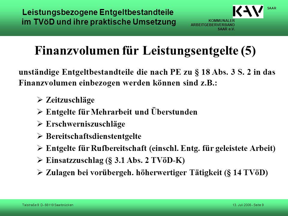 Finanzvolumen für Leistungsentgelte (5)