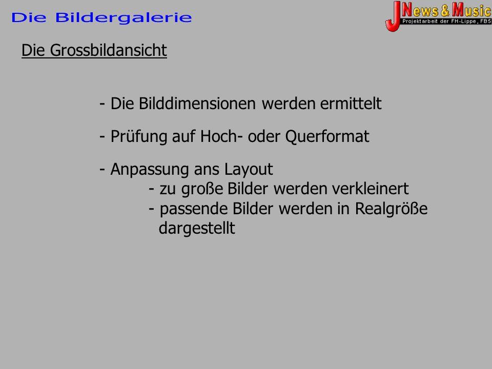 Die Bildergalerie Die Grossbildansicht. - Die Bilddimensionen werden ermittelt. - Prüfung auf Hoch- oder Querformat.