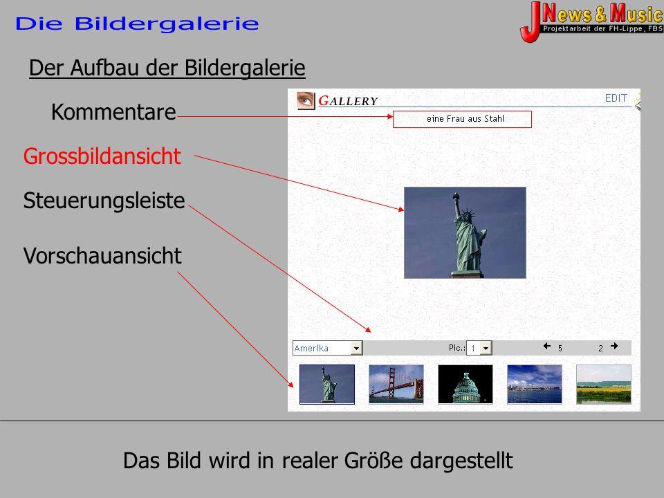 Die Bildergalerie Der Aufbau der Bildergalerie. Kommentare. Grossbildansicht. Steuerungsleiste. Vorschauansicht.