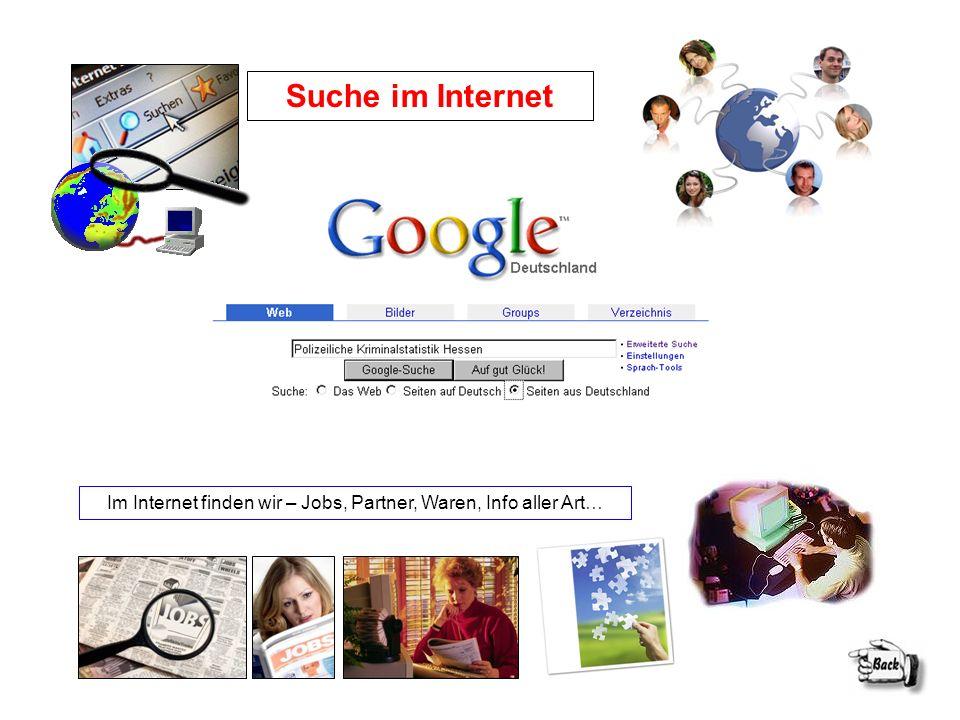 Im Internet finden wir – Jobs, Partner, Waren, Info aller Art…