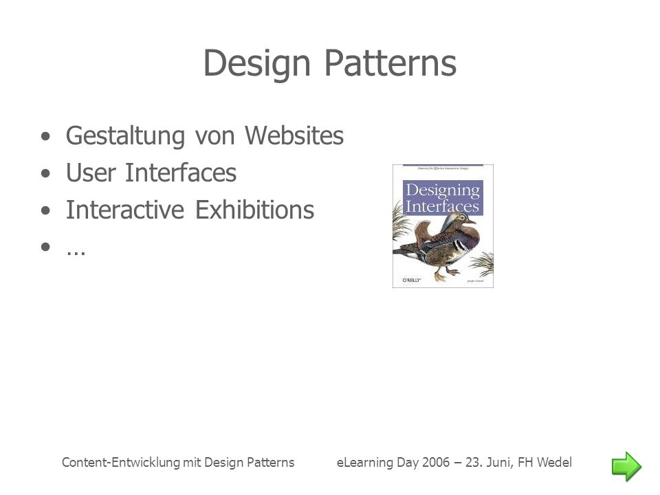 Design Patterns Gestaltung von Websites User Interfaces