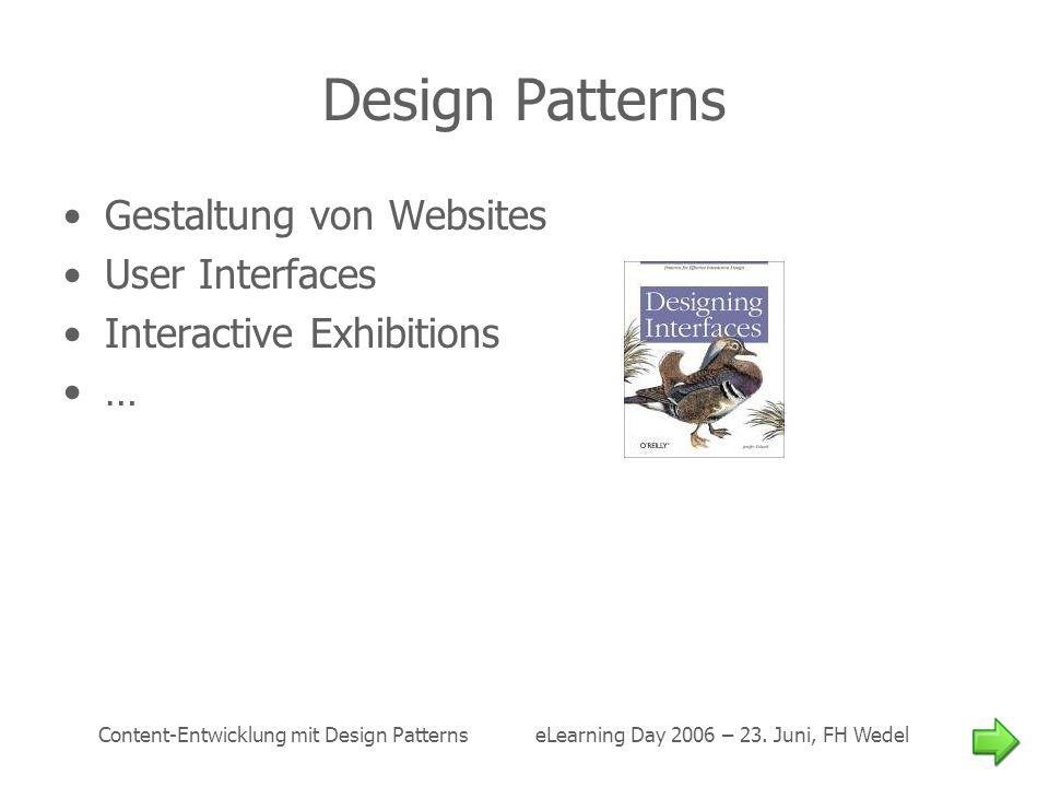 Design Patterns Gestaltung von Websites User Interfaces