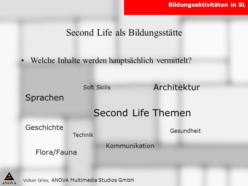 Second Life als Bildungsstätte