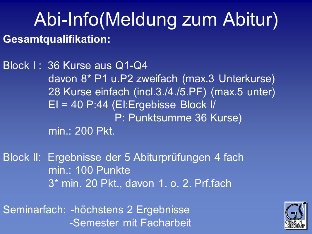 Abi-Info(Meldung zum Abitur)
