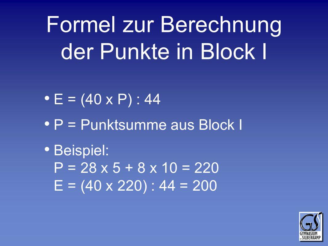 Formel zur Berechnung der Punkte in Block I