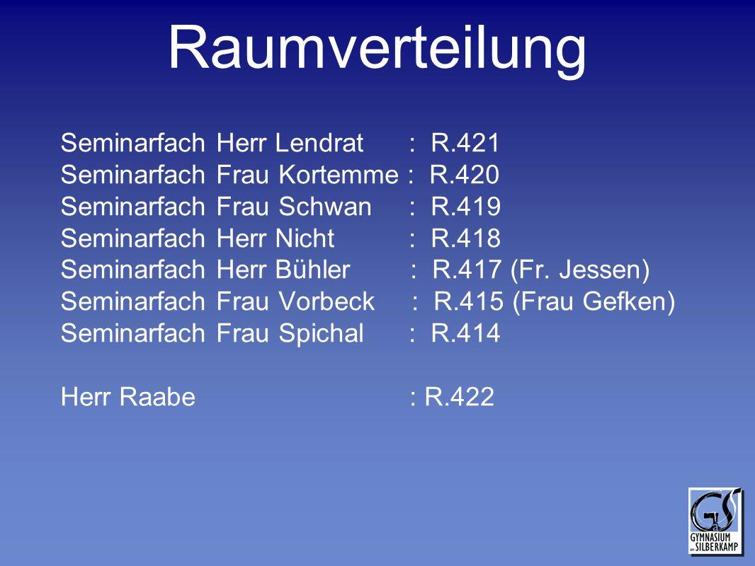Raumverteilung Seminarfach Herr Lendrat : R.421