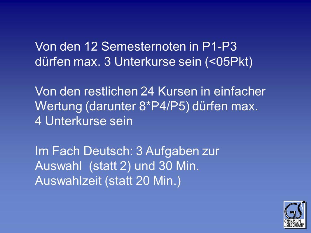 Von den 12 Semesternoten in P1-P3 dürfen max