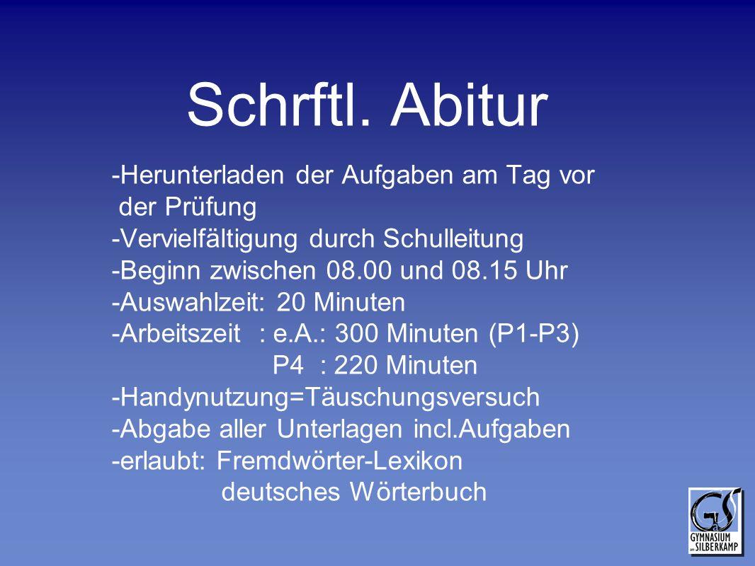 Schrftl. Abitur -Herunterladen der Aufgaben am Tag vor der Prüfung