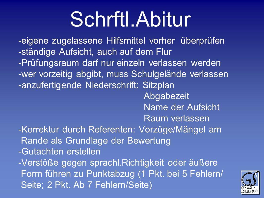 Schrftl.Abitur -eigene zugelassene Hilfsmittel vorher überprüfen