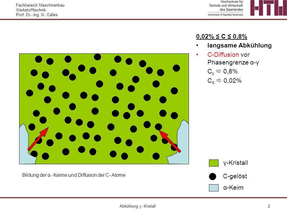 C-Diffusion vor Phasengrenze α-γ Cγ  0,8% Cα  0,02%
