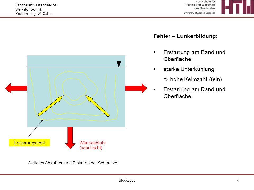 Fehler – Lunkerbildung: Erstarrung am Rand und Oberfläche
