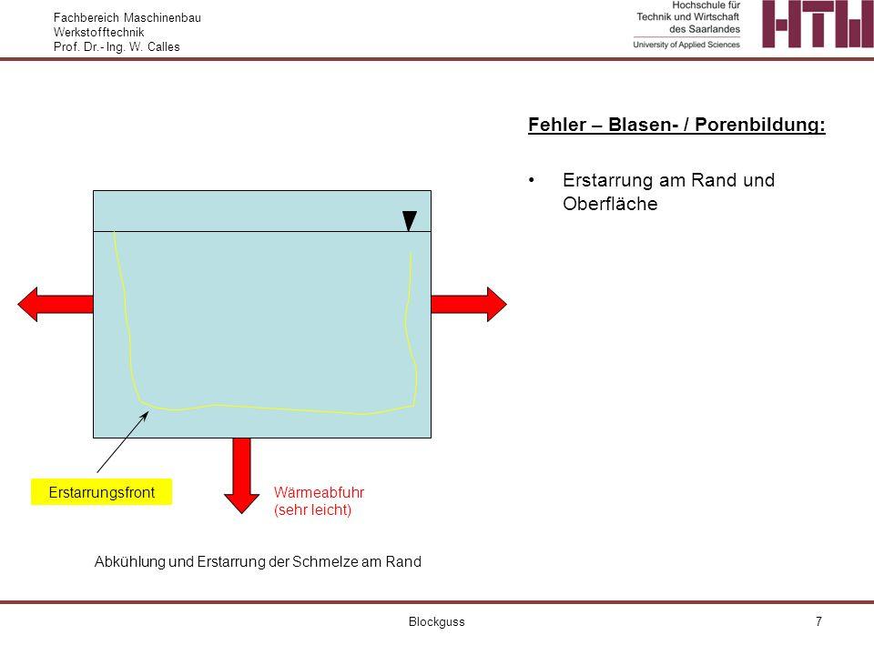 Fehler – Blasen- / Porenbildung: Erstarrung am Rand und Oberfläche