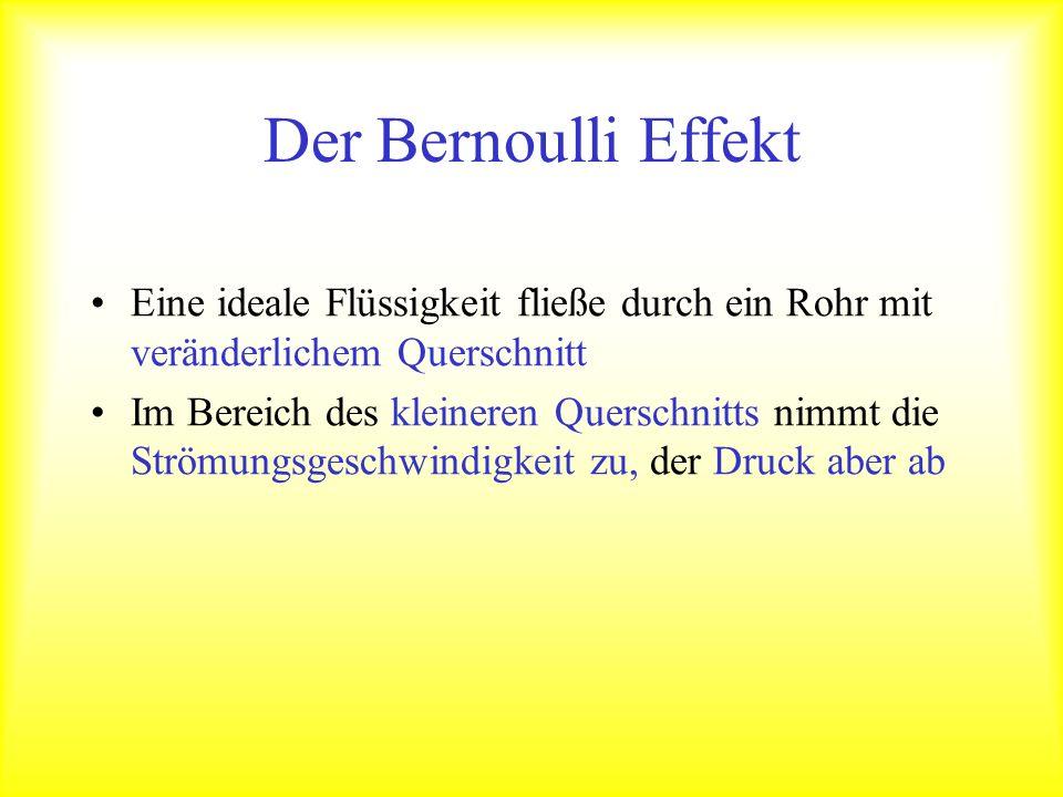 Der Bernoulli Effekt Eine ideale Flüssigkeit fließe durch ein Rohr mit veränderlichem Querschnitt.