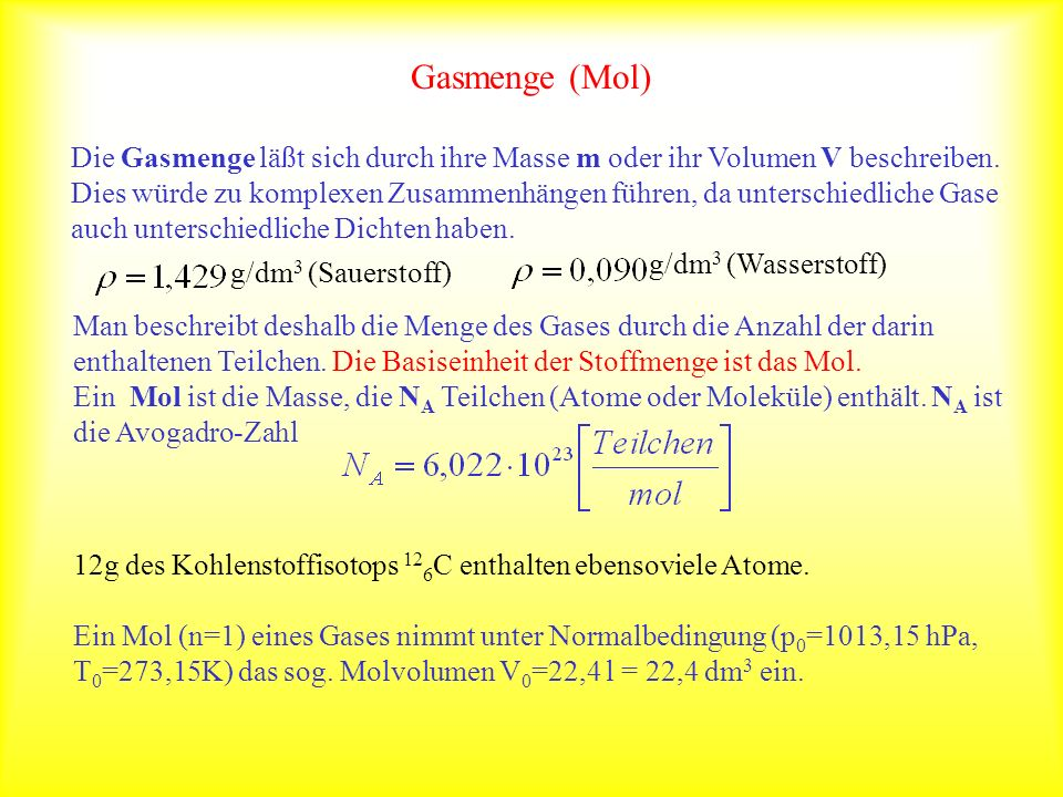 Gasmenge (Mol)