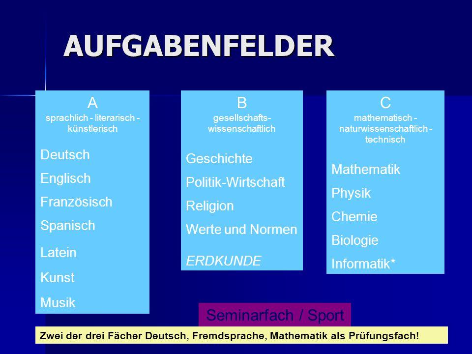 AUFGABENFELDER A sprachlich - literarisch - künstlerisch