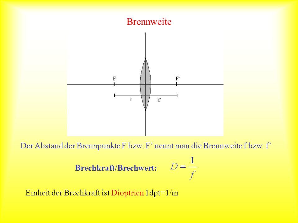Brennweite Der Abstand der Brennpunkte F bzw. F' nennt man die Brennweite f bzw. f' Brechkraft/Brechwert: