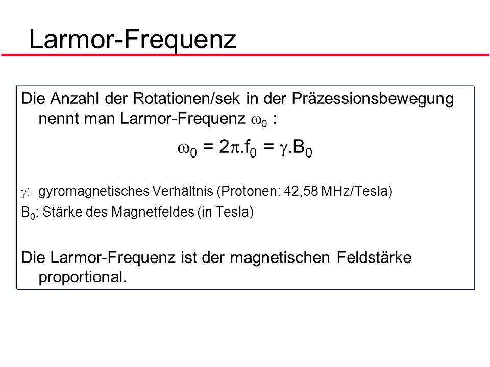 Larmor-Frequenz 0 = 2.f0 = .B0