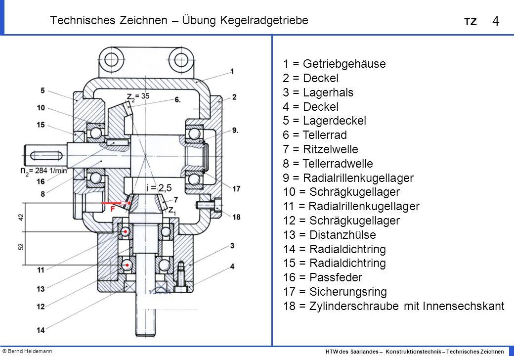 Technisches Zeichnen – Übung Kegelradgetriebe
