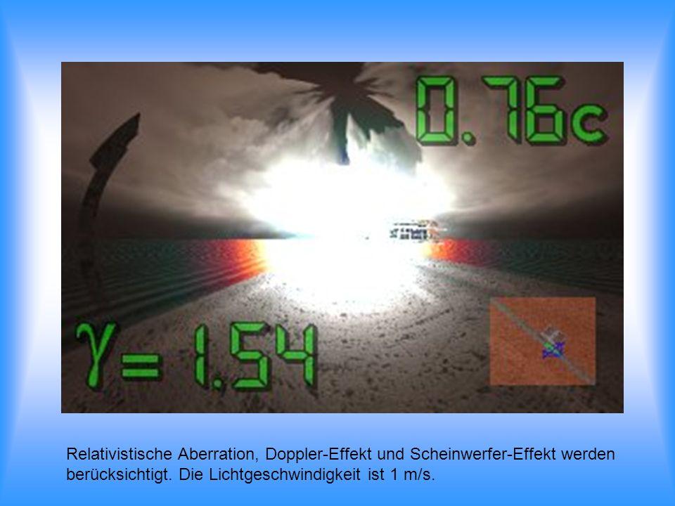 Relativistische Aberration, Doppler-Effekt und Scheinwerfer-Effekt werden