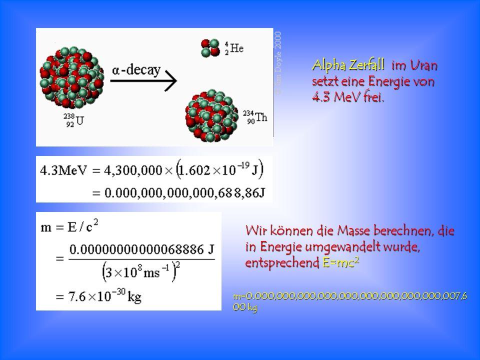 Alpha Zerfall im Uran setzt eine Energie von 4.3 MeV frei.