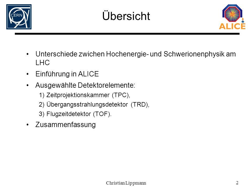 Übersicht Unterschiede zwichen Hochenergie- und Schwerionenphysik am LHC. Einführung in ALICE. Ausgewählte Detektorelemente: