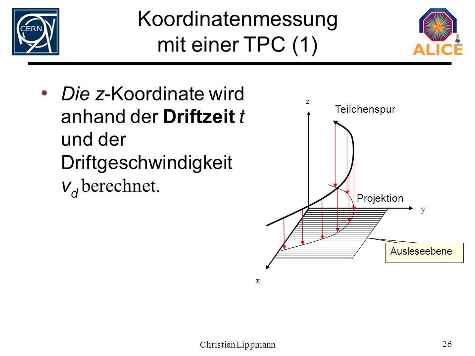 Koordinatenmessung mit einer TPC (1)