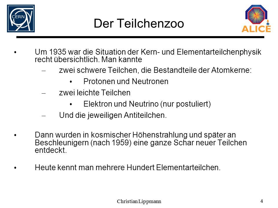 Der Teilchenzoo Um 1935 war die Situation der Kern- und Elementarteilchenphysik recht übersichtlich. Man kannte.