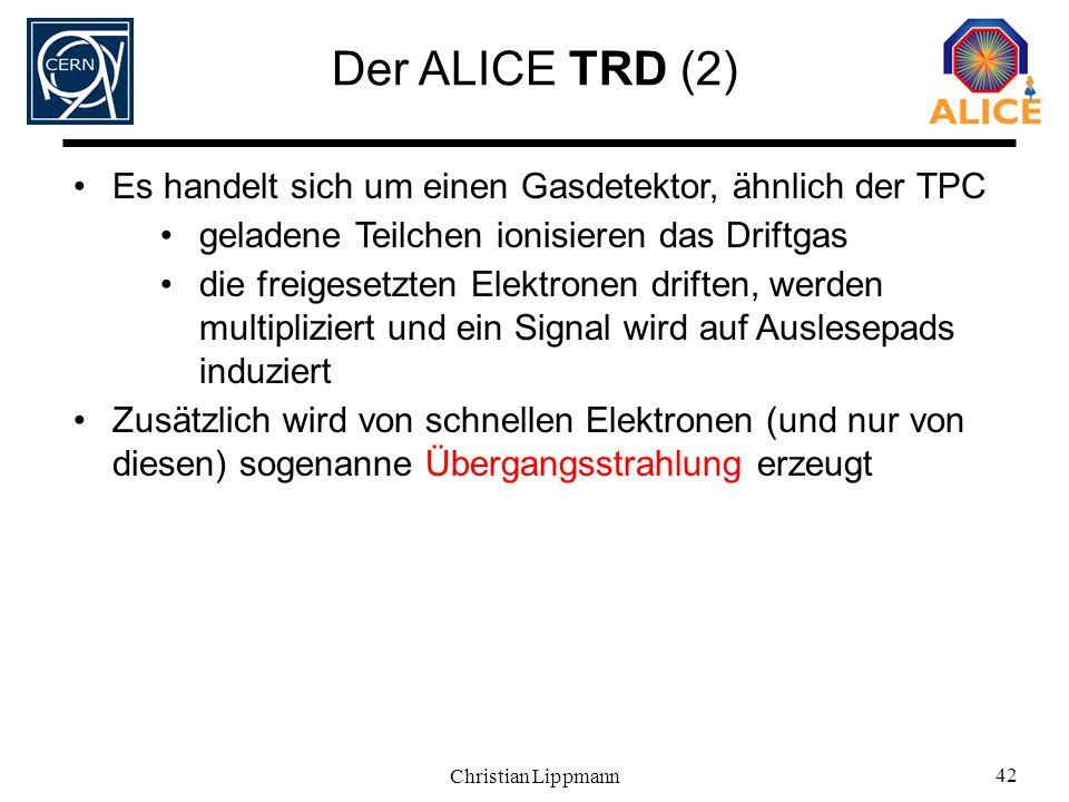 Der ALICE TRD (2) Es handelt sich um einen Gasdetektor, ähnlich der TPC. geladene Teilchen ionisieren das Driftgas.