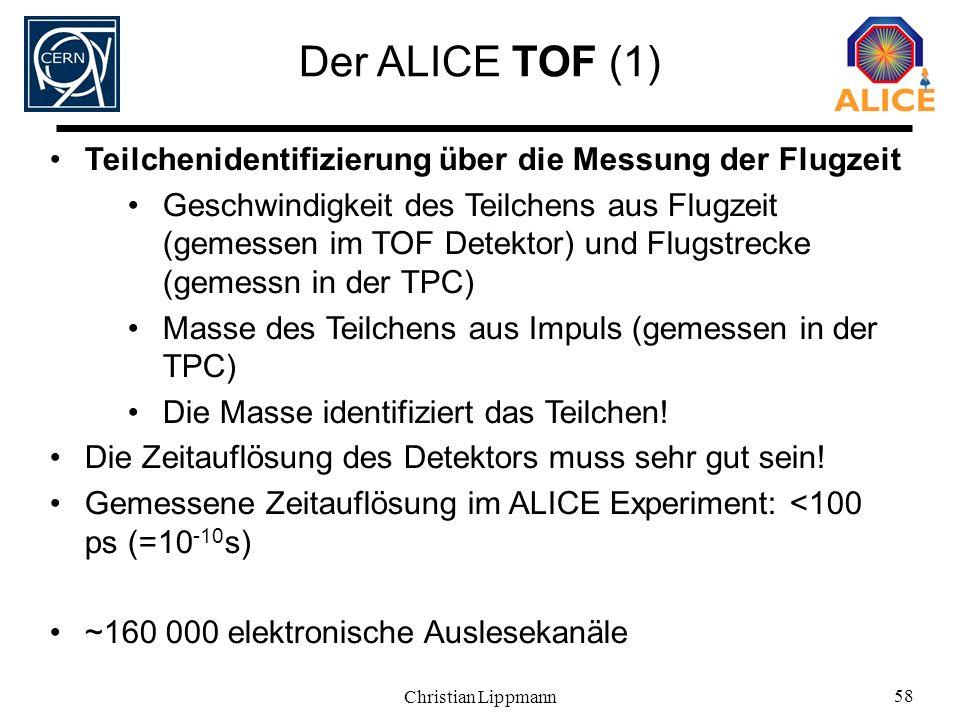 Der ALICE TOF (1) Teilchenidentifizierung über die Messung der Flugzeit.