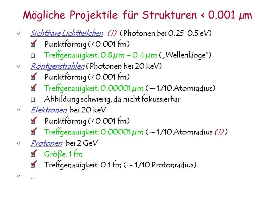 Mögliche Projektile für Strukturen < 0.001 µm