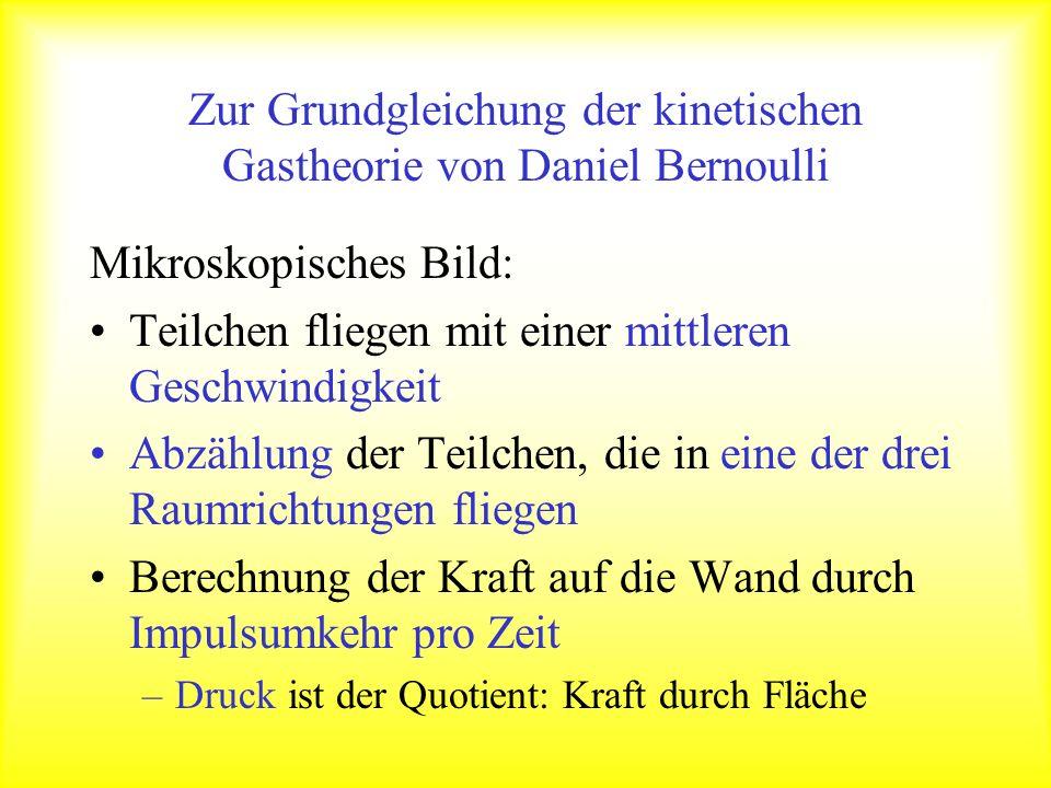 Zur Grundgleichung der kinetischen Gastheorie von Daniel Bernoulli