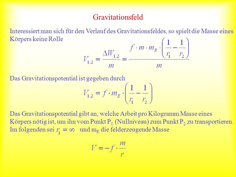 Gravitationsfeld Interessiert man sich für den Verlauf des Gravitationsfeldes, so spielt die Masse eines Körpers keine Rolle.