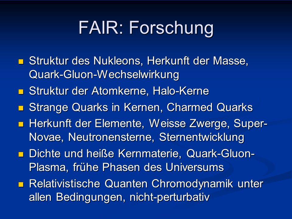FAIR: Forschung Struktur des Nukleons, Herkunft der Masse, Quark-Gluon-Wechselwirkung. Struktur der Atomkerne, Halo-Kerne.