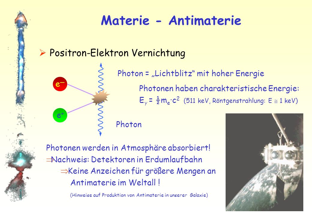 Materie - Antimaterie Positron-Elektron Vernichtung