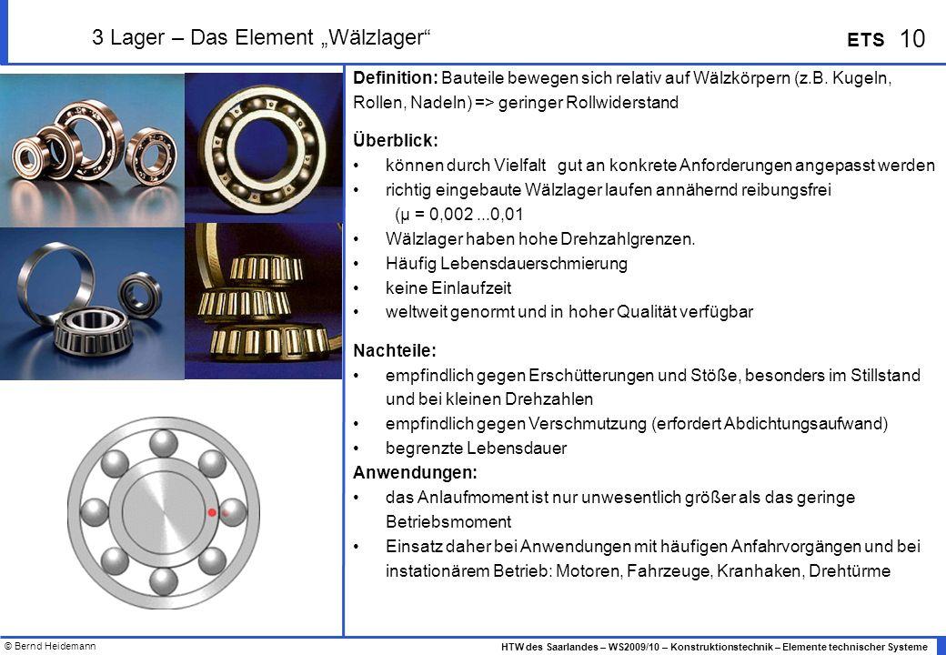 """3 Lager – Das Element """"Wälzlager"""