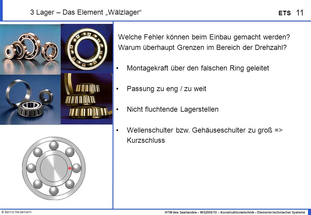 "3 Lager – Das Element ""Wälzlager"