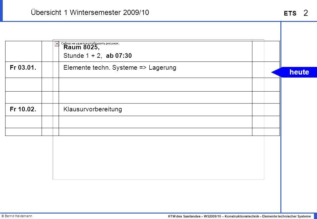 Übersicht 1 Wintersemester 2009/10