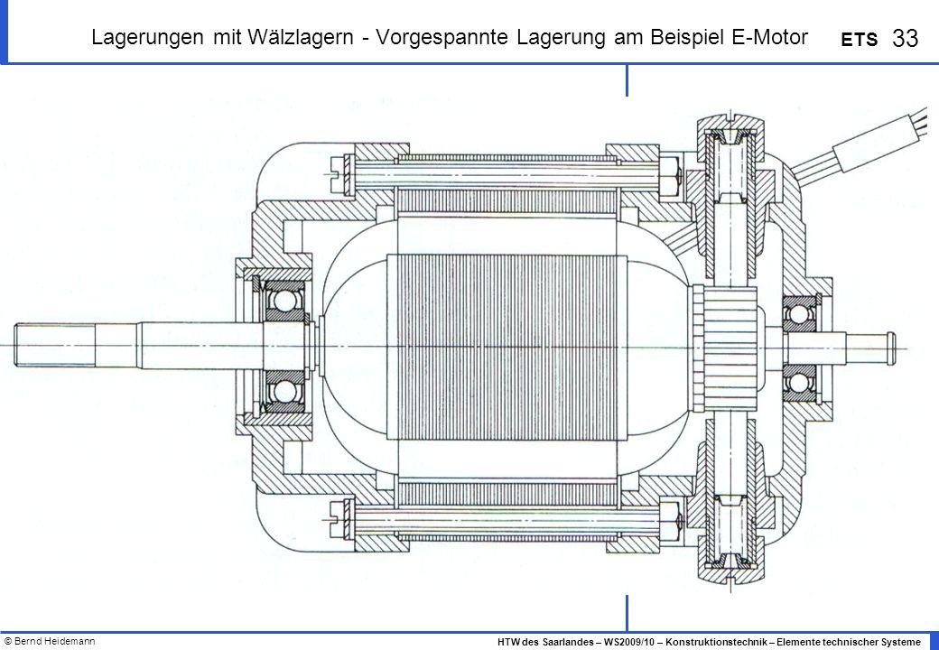 Lagerungen mit Wälzlagern - Vorgespannte Lagerung am Beispiel E-Motor
