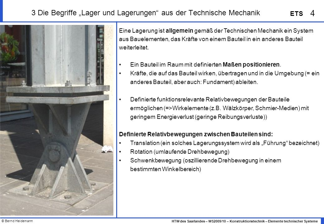 """3 Die Begriffe """"Lager und Lagerungen aus der Technische Mechanik"""