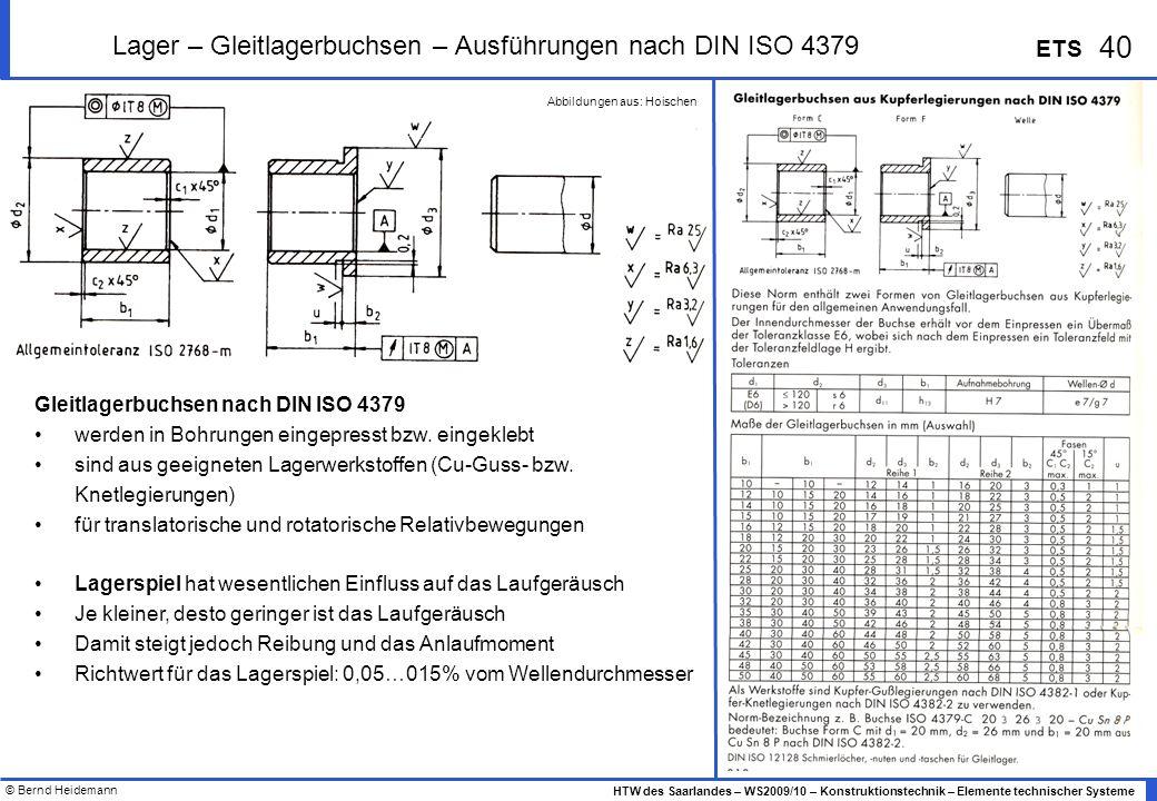 Lager – Gleitlagerbuchsen – Ausführungen nach DIN ISO 4379