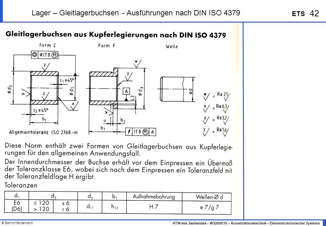 Lager – Gleitlagerbuchsen - Ausführungen nach DIN ISO 4379