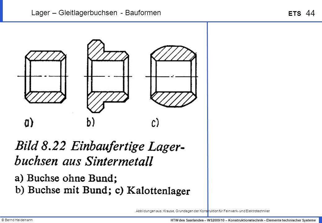 Lager – Gleitlagerbuchsen - Bauformen