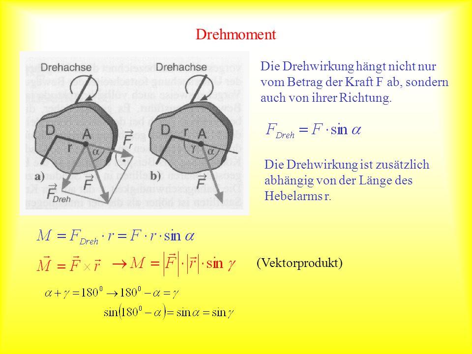 Drehmoment Die Drehwirkung hängt nicht nur vom Betrag der Kraft F ab, sondern auch von ihrer Richtung.