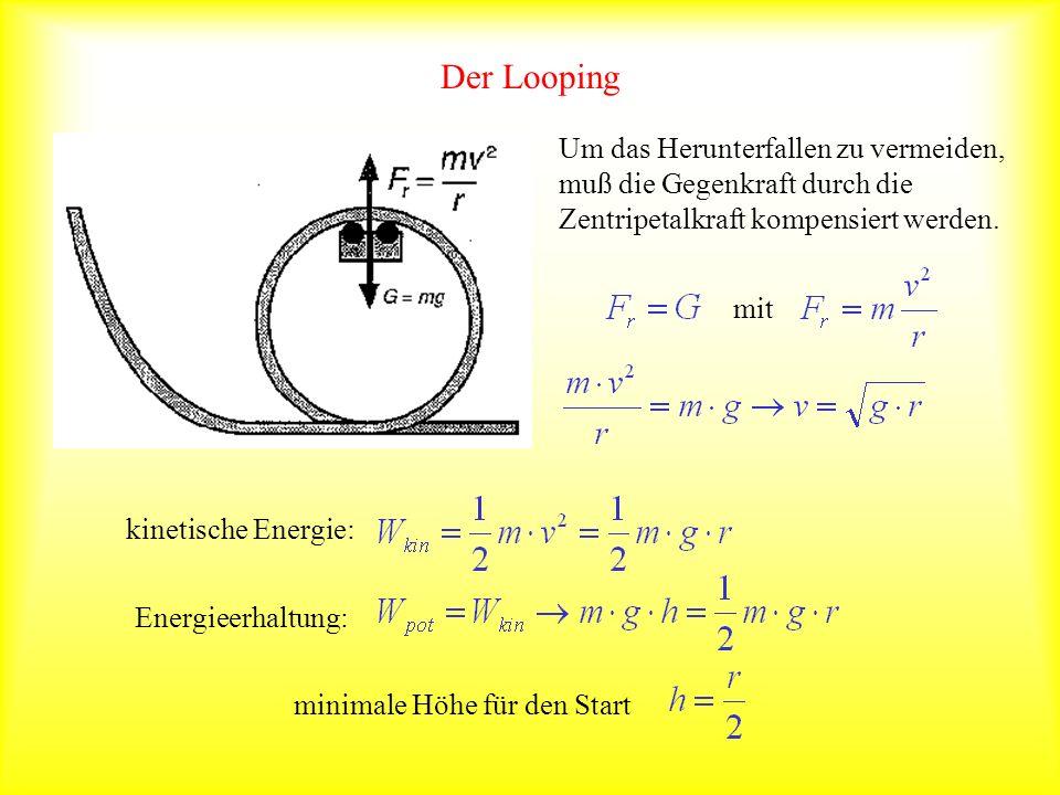 Der LoopingUm das Herunterfallen zu vermeiden, muß die Gegenkraft durch die Zentripetalkraft kompensiert werden.