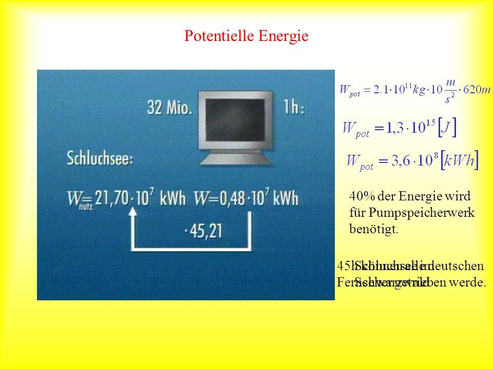 Potentielle Energie 40% der Energie wird für Pumpspeicherwerk benötigt. 45h können alle deutschen Fernseher getrieben werde.