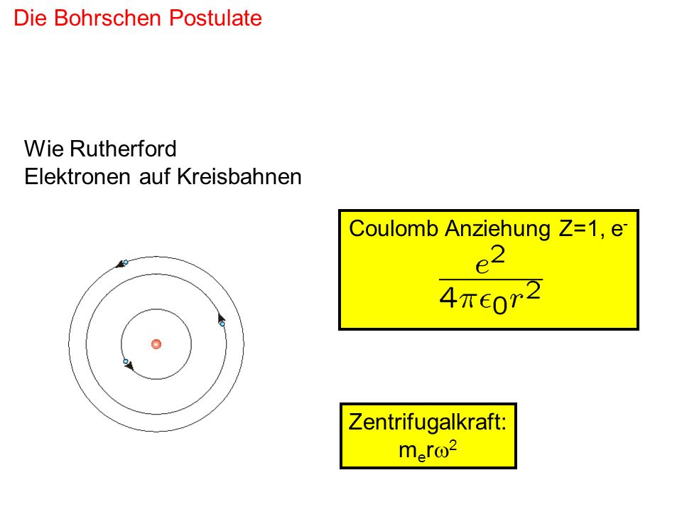 Coulomb Anziehung Z=1, e-