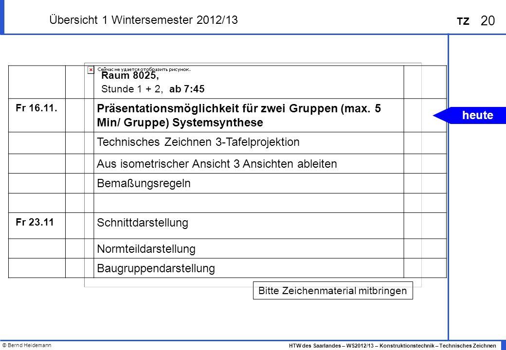 Übersicht 1 Wintersemester 2012/13