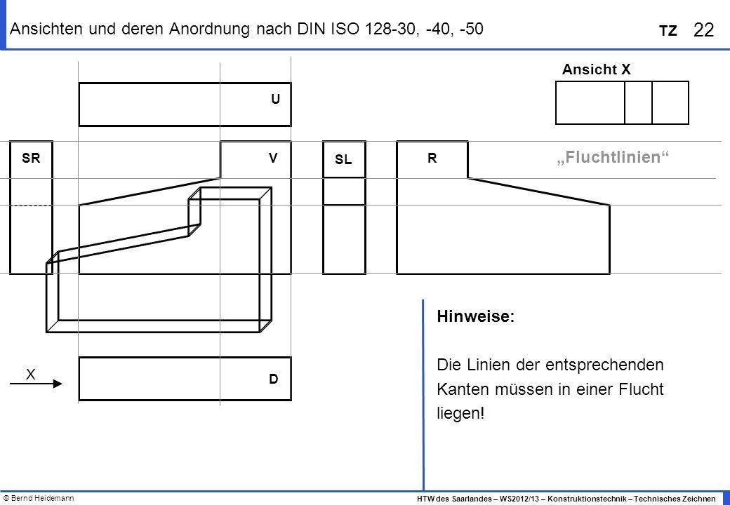 Ansichten und deren Anordnung nach DIN ISO 128-30, -40, -50