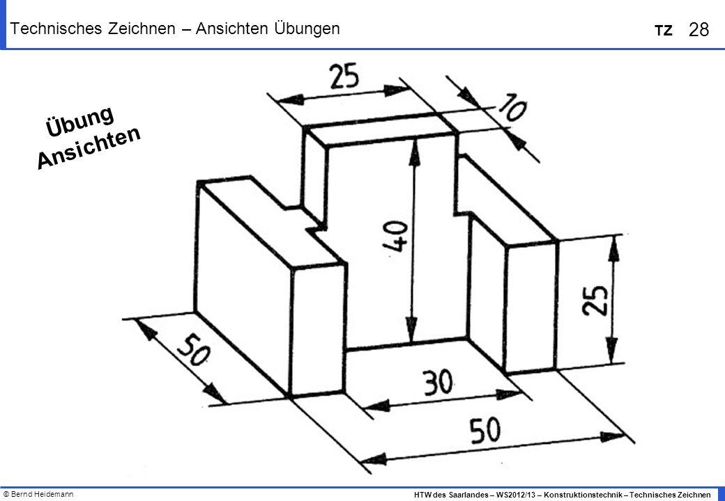 Technisches Zeichnen – Ansichten Übungen